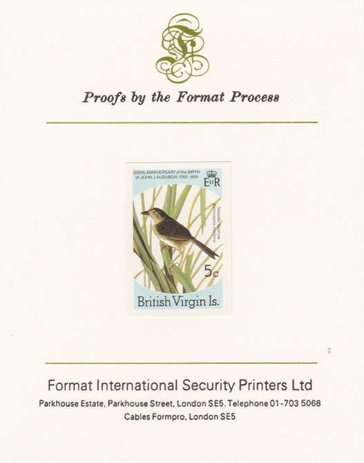 British Virgin Islands 1985 John Audubon Birds 5c Seaside Sparrow imperf proof mounted on Format International proof card, as SG 588