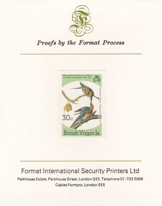British Virgin Islands 1985 John Audubon Birds 30c Passenger Pigeon imperf proof mounted on Format International proof card, as SG 589