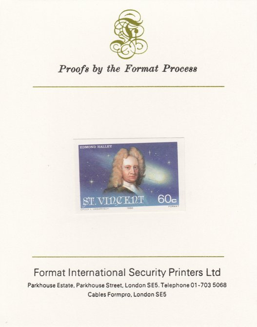 St Vincent 1986 Halley's Comet 60c (Edmond Halley) imperf proof mounted on Format International proof card, as SG 974