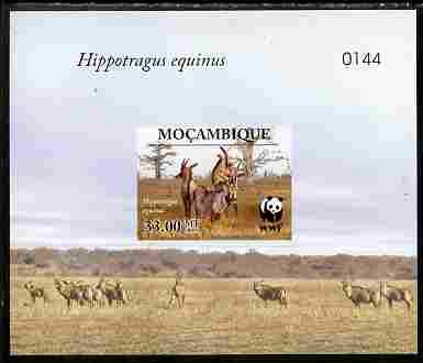 Mozambique 2009 WWF - Antelope Hippotragus equinus imperf deluxe sheetlet #2 (numbered from a limited edition)