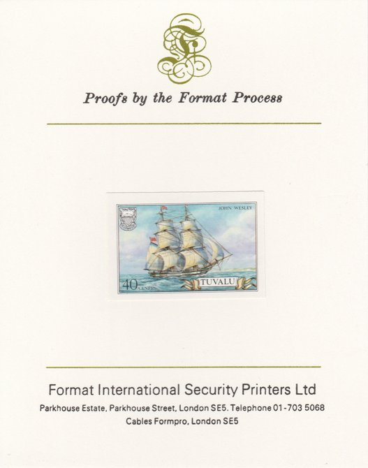 Tuvalu 1986 Ships #3 Brig John Wesley 40c imperf proof mounted on Format International proof card, as SG 378