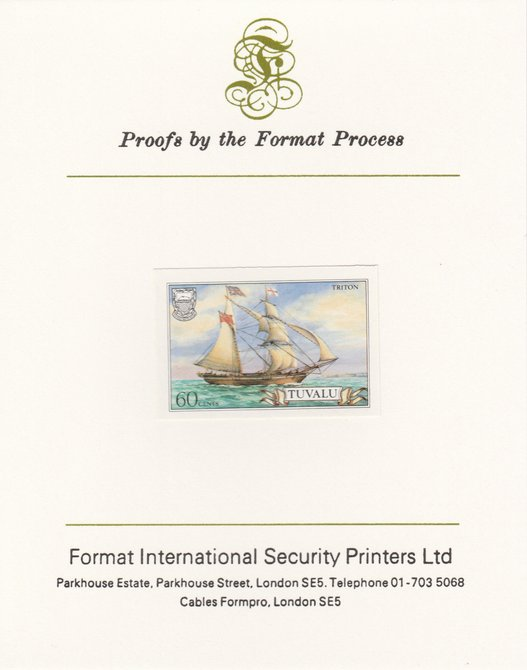 Tuvalu 1986 Ships #3 Brigantine Triton 60c imperf proof mounted on Format International proof card, as SG 380