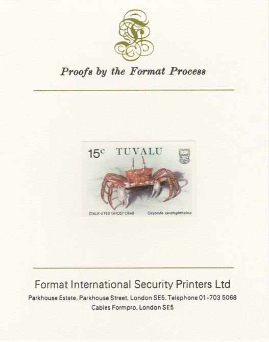 Tuvalu 1986 Crabs 15c (Ghost Crab) imperf proof mounted on Format International proof card, as SG 372