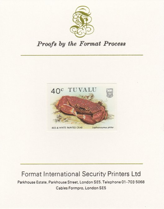 Tuvalu 1986 Crabs 40c (Red & White Painted Crab) imperf proof mounted on Format International proof card, as SG 373