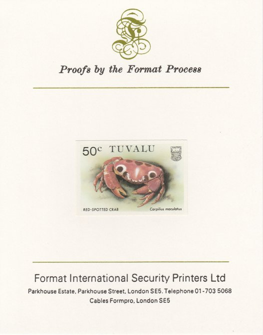 Tuvalu 1986 Crabs 50c (Red Spotted Crab) imperf proof mounted on Format International proof card, as SG 374