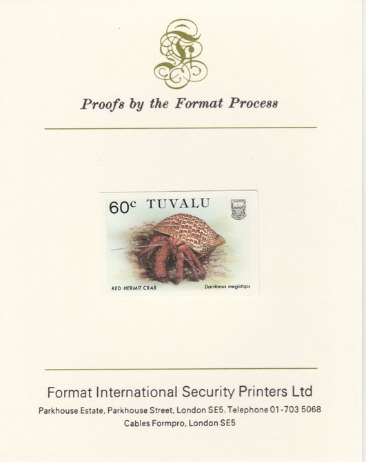Tuvalu 1986 Crabs 60c (Red Hermit Crab) imperf proof mounted on Format International proof card, as SG 375