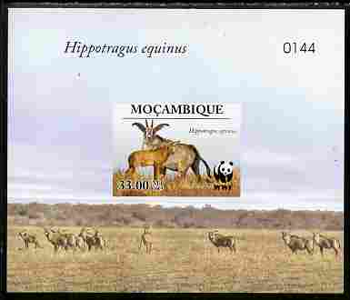 Mozambique 2009 WWF - Antelope Hippotragus equinus imperf deluxe sheetlet #3 (numbered from a limited edition)