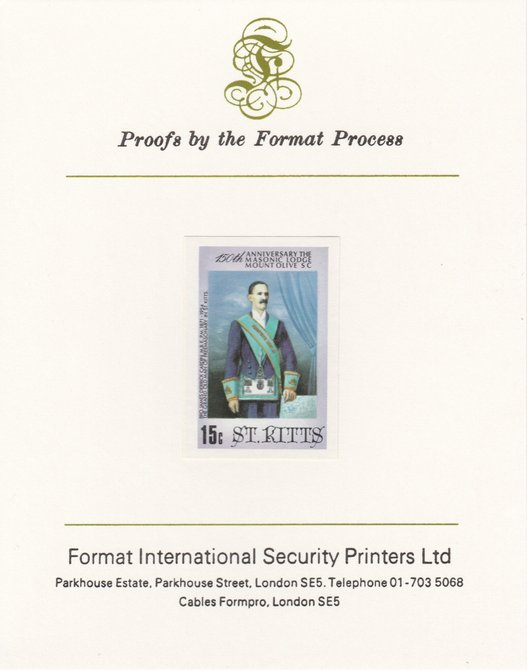 St Kitts 1985 Masonic Lodge 15c (James Derrick Cardin) imperf proof mounted on Format International proof card, as SG 177