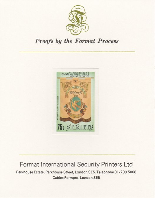 St Kitts 1985 Masonic Lodge 75c (Banner of Mount Olive Lodge) imperf proof mounted on Format International proof card, as SG 178