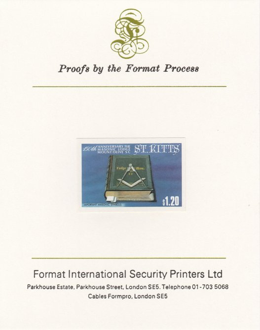 St Kitts 1985 Masonic Lodge $1.20 (Masonic Symbols) imperf proof mounted on Format International proof card, as SG 179