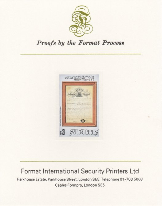 St Kitts 1985 Masonic Lodge $3 (Lodge Charter) imperf proof mounted on Format International proof card, as SG 180