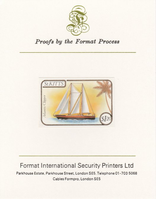 St Kitts 1985 Ships $1.20 (Atlantic Clipper Schooner) imperf proof mounted on Format International proof card, as SG 174