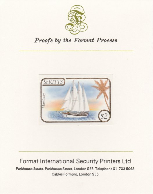 St Kitts 1985 Ships $2 (Schooner Mandalay) imperf proof mounted on Format International proof card, as SG 175