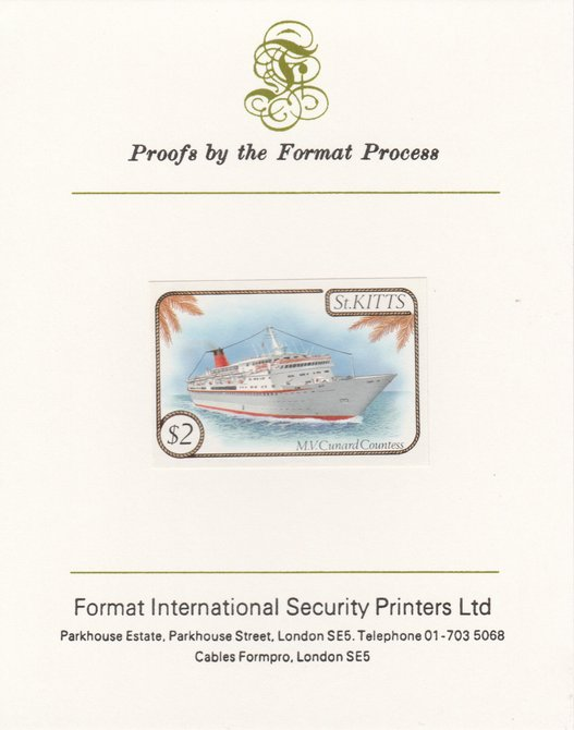 St Kitts 1985 Ships $2 (Cunard Liner) imperf proof mounted on Format International proof card, as SG 176