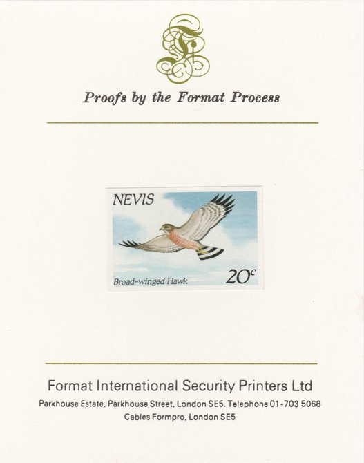 Nevis 1985 Hawks & Herons 20c (Broad Winged Hawk) imperf proof mounted on Format International proof card, as SG 265