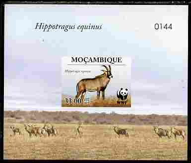 Mozambique 2009 WWF - Antelope Hippotragus equinus imperf deluxe sheetlet #4 (numbered from a limited edition)