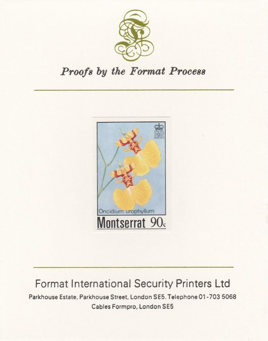 Montserrat 1985 Orchids 90c (Oncidium urophyllum) imperf proof mounted on Format International proof card, as SG 631
