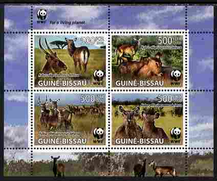 Guinea - Bissau 2008 WWF - Kobus perf sheetlet containing set of 4 vaues unmounted mint as Michel 2626-49