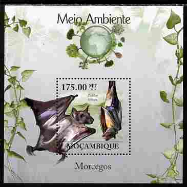Mozambique 2010 The Environment - Bats perf souvenir sheet unmounted mint Michel BL 303, stamps on animals, stamps on mammals, stamps on bats, stamps on environment, stamps on