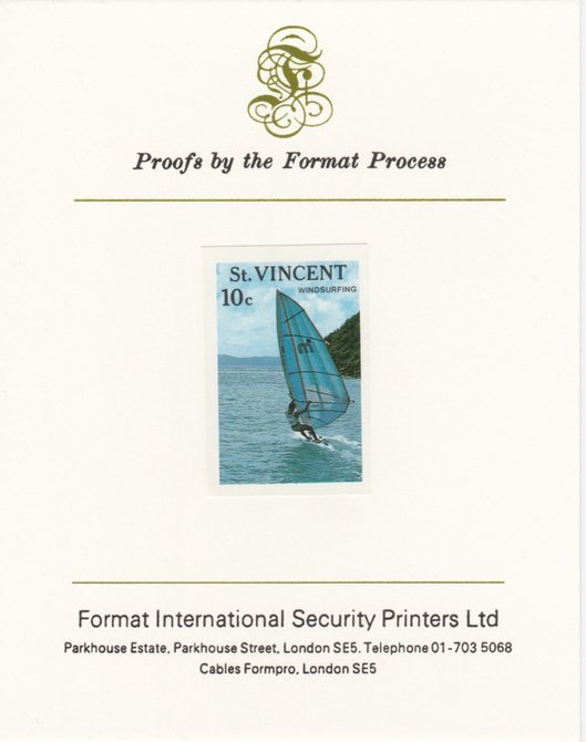 St Vincent 1988 Tourism 10c Windsurfing imperf mounted on Format International proof card, as SG 1133