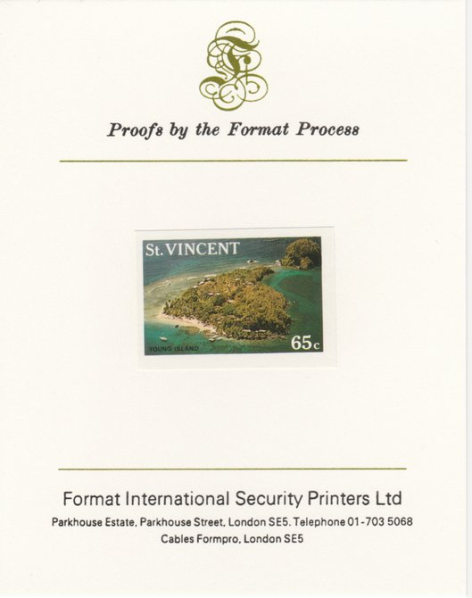 St Vincent 1988 Tourism 65c Aerial View of Young Island imperf mounted on Format International proof card, as SG 1135