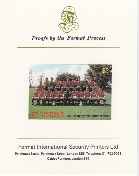 St Vincent 1987 English Football teams $2 Manchester United imperf mounted on Format International proof card, as SG 1091