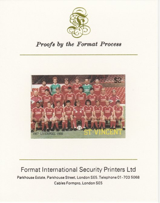 St Vincent 1987 English Football teams $2 Liverpool imperf mounted on Format International proof card, as SG 1094