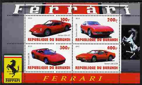Burundi 2010 Ferrari Sports cars #1 perf sheetlet containing 4 values unmounted mint
