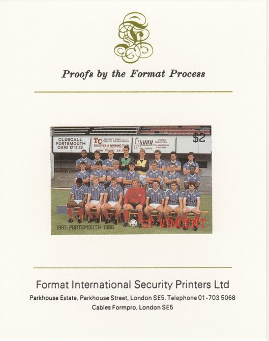 St Vincent 1987 English Football teams $2 Portsmouth imperf mounted on Format International proof card, as SG 1096
