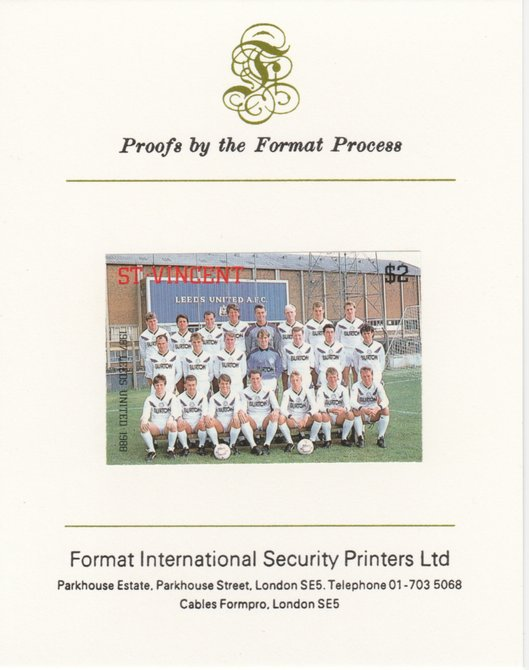 St Vincent 1987 English Football teams $2 Leeds United imperf mounted on Format International proof card, as SG 1097