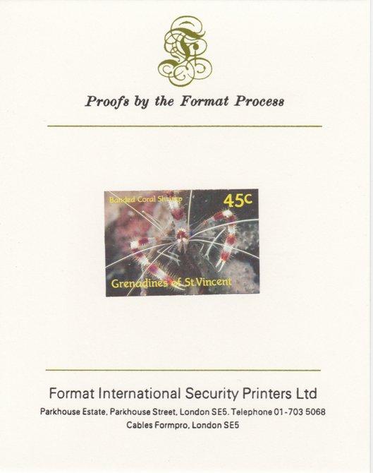 St Vincent - Grenadines 1987 Marine Life 45c Banded Coral Shrimp imperf mounted on Format International proof card as SG 542