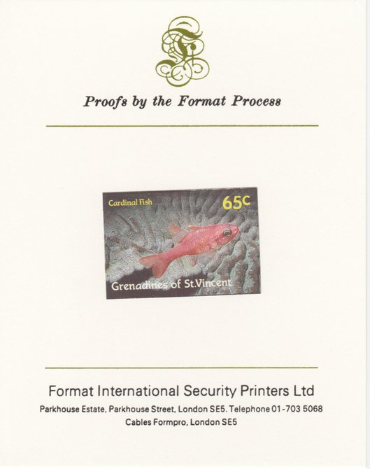 St Vincent - Grenadines 1987 Marine Life 65c Cardinal Fish imperf mounted on Format International proof card, as SG 544