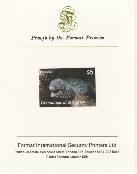 St Vincent - Grenadines 1987 Marine Life $5 Spotted Moray Eel imperf mounted on Format International proof card, as SG 545