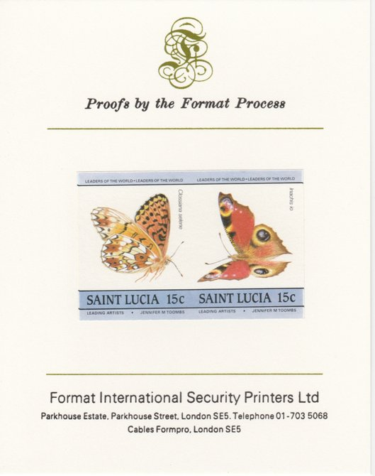 St Lucia 1985 Butterflies (Leaders of the World) 15c imperf se-tenant pair mounted on Format International proof card, as SG 781a, stamps on butterflies