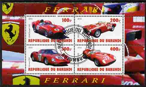 Burundi 2010 Ferrari Sports cars #2 perf sheetlet containing 4 values fine cto used, stamps on ferrari, stamps on cars, stamps on racing cars