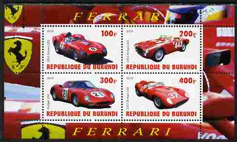 Burundi 2010 Ferrari Sports cars #2 perf sheetlet containing 4 values unmounted mint