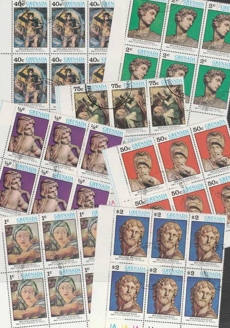 Grenada - Grenadines 1975 Michelangelo cto set of 7 in complete (folded) sheets of 50, SG 68-74 (50 sets = 350 stamps)