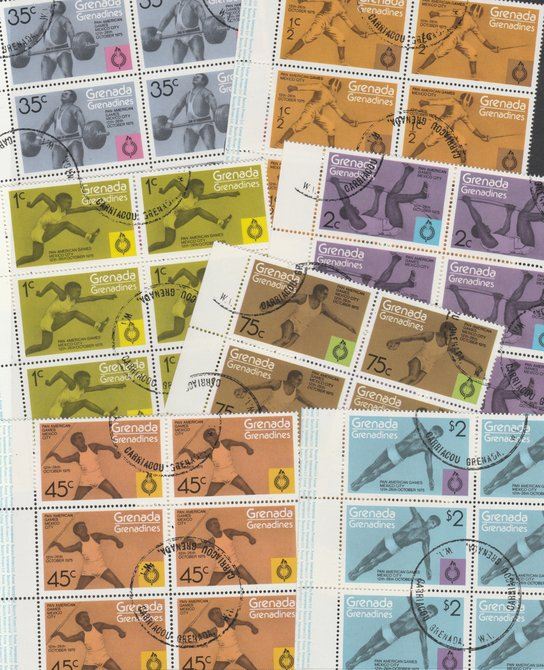 Grenada - Grenadines 1975 Pan American Games cto set of 7 in complete (folded) sheets of 50, SG 103-9 (50 sets = 350 stamps)