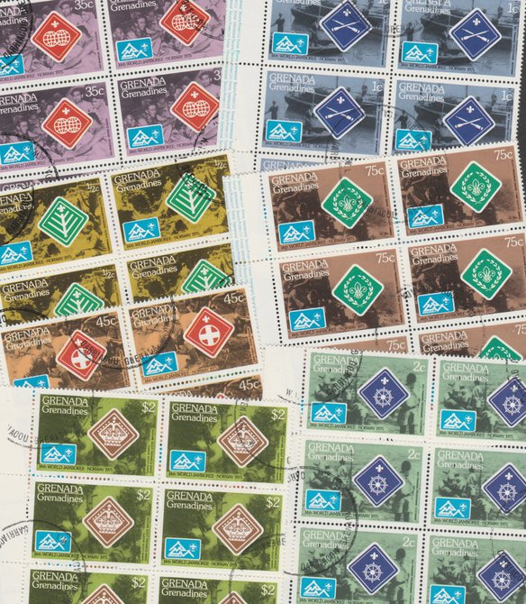 Grenada - Grenadines 1975 World Scout Jamboree cto set of 7 in complete (folded) sheets of 50, SG 84-90 (50 sets = 350 stamps)
