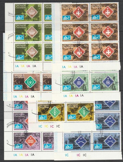 Grenada - Grenadines 1975 World Scout Jamboree cto set of 7 each in plate block of 6, SG 84-90
