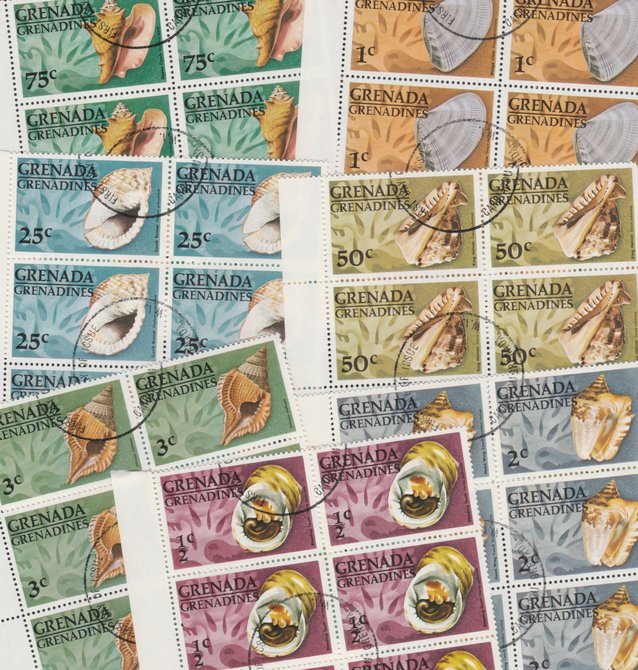 Grenada - Grenadines 1976 Shells cto set of 7 in complete (folded) sheets of 50, SG 139-45 (50 sets = 350 stamps)