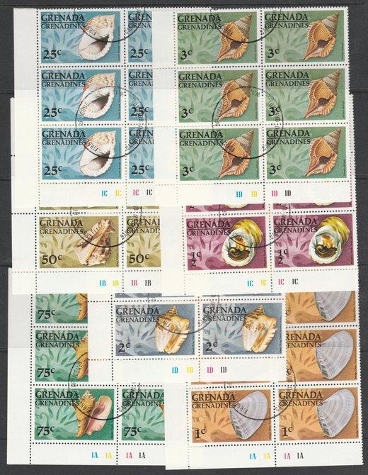 Grenada - Grenadines 1976 Shells cto set of 7 each in plate block of 6, SG 139-45