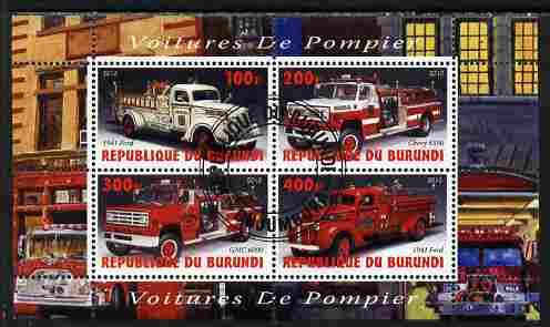 Burundi 2010 Fire Engines #1 perf sheetlet containing 4 values fine cto used
