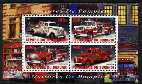 Burundi 2010 Fire Engines #1 perf sheetlet containing 4 values unmounted mint
