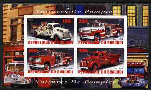Burundi 2010 Fire Engines #1 imperf sheetlet containing 4 values unmounted mint