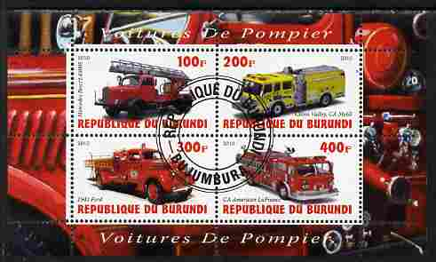 Burundi 2010 Fire Engines #2 perf sheetlet containing 4 values fine cto used, stamps on fire