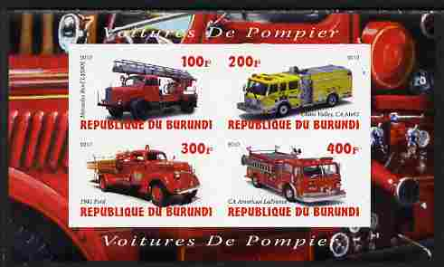 Burundi 2010 Fire Engines #2 imperf sheetlet containing 4 values unmounted mint, stamps on fire