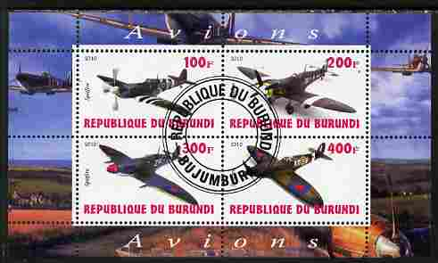 Burundi 2010 Spitfire Planes of World War II perf sheetlet containing 4 values fine cto used
