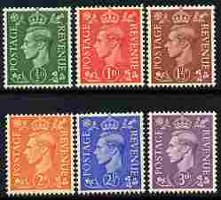 Great Britain 1941-42 KG6 lighter colours set of 6 unmounted mint SG 485-90