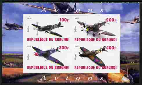 Burundi 2010 Spitfire Planes of World War II imperf sheetlet containing 4 values unmounted mint